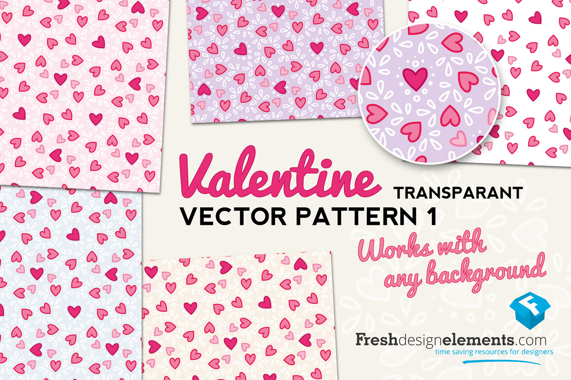 Transparant Valentines Hearts Pattern No 1