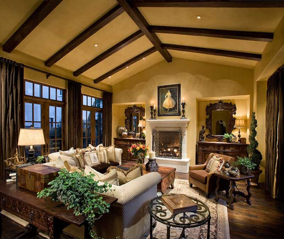 Rustic House Plans with wrap around porch - living rustic room area