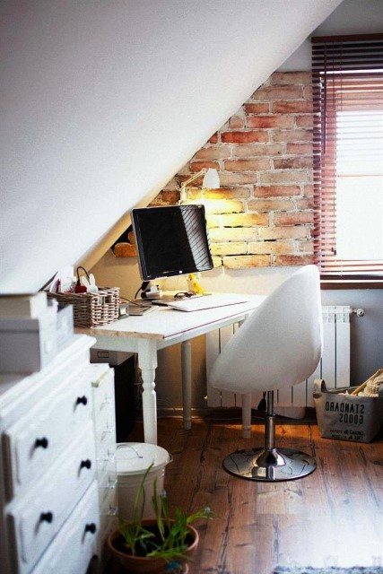 Office Room Decorating Concept With Modern Brick Boundary Wall Designs
