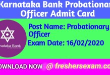 Karnataka Bank Probationary Officer Admit Card 2020, admit Download link