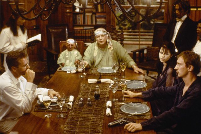 L-R, Val Kilmer, Nelson Aquino de la Rosa (world's smallest man at the time), Marlon Brando, Fairuza Balk and David Thewlis in THE ISLAND OF DR. MOREAU.