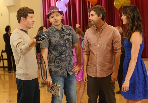 "THE LEAGUE -- Episode 3: ""The Height Supremacist"" (Aired on Wednesday, September 17, 10:00). Pictured: (L-R) Stephen Rannazzisi as Kevin, Paul Scheer as Andre, Mark Duplass as Pete, Katie Aselton as Jenny. Photo courtesy of Patrick McElhenney/FXX."
