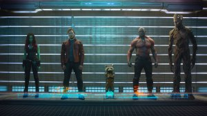Zoe Saldana, Chris Pratt, Bradley Cooper (voices), David Bautista, and Vin Diesel (voices) are the GUARDIANS OF THE GALAXY. Photo courtesy of Walt Disney Studios Motion Pictures.