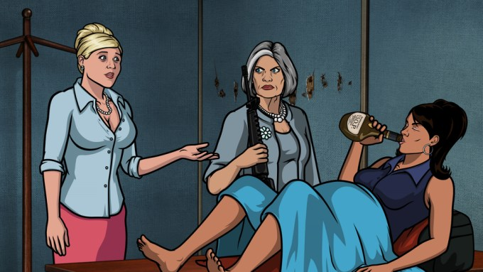 """ARCHER: Episode 13 from Season 5 - """"Archer Vice: Arrival/Departure."""" Pictured: (L-R) Pam Poovey (voice of Amber Nash), Malory Archer (voice of Jessica Walter), and Lana Kane (voice of Aisha Tyler). Photo courtesy FX Networks."""
