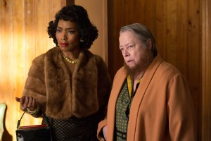 "AMERICAN HORROR STORY: FREAK SHOW - ""Test of Strength""- Episode 407 -- Pictured: (L-R) Angela Bassett as Desiree Dupree, Kathy Bates as Ethel Darling. CR: Michele K. Short/FX."