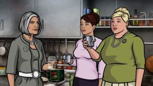 "ARCHER: Episode 13, Season 4 ""Sea Tunt: Pt. 2."" Archer and the ISIS crew go to an underwater SEA LABoratory to stop the deranged Captain Murphy. Pictured: (L-R) Malory Archer (voice of Jessica Walter) Cheryl Tunt (voice of Judy Greer) Pam Poovey (voice of Amber Nash). Photo courtesy of FX Networks."