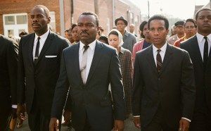 L-R, Colman Domingo as Rev. Ralph Abernathy, David Oyelowo as Martin Luther King, André Holland as Andrew Young, and Stephan James as John Lewis in SELMA. Photo courtesy of Paramount Pictures.