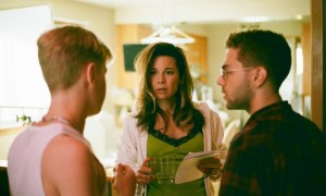 Antoine Olivier-Pilon, Anne Dorval and Xavier Dolan on the set of Mommy. Photo courtesy of Les Films Séville.