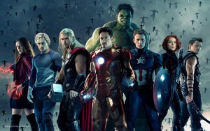 L-R: Scarlet Witch (Elizabeth Olsen), Quicksilver (Aaron Taylor-Johnson), Thor (Chris Hemsworth), Iron Man (Robert Downey Jr.), Hulk (Mark Ruffalo), Captain America (Chris Evans), Black Widow (Scarlett Johansson), and Hawkeye (Jeremy Renner). Photo courtesy of Walt Disney Studios Motion Pictures.