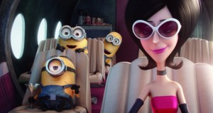 The Minions and Scarlett Overkill (Sandra Bullock) in MINIONS. Photo courtesy of Universal Pictures.