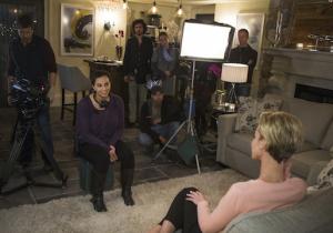 Shia (Aline Elasmar) interviews Mary (Ashley Scott) in UnREAL. Photo courtesy of Lifetime.
