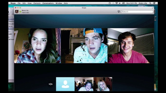 (L-R, clockwise) Shelley Hennig, Will Peltz, Moses Jacob Storm, Renee Olstead, Jacob Wysocki in UNFRIENDED courtesy of Universal Pictures.