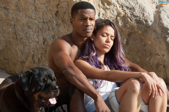 Nate Parker (left) as the ambitious political figure Caz and Gugu Mbatha-Raw (left) as pop star Noni