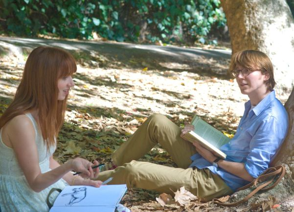 Zoe Kazan (left) as the titular Ruby Sparks and Paul Dano (right)