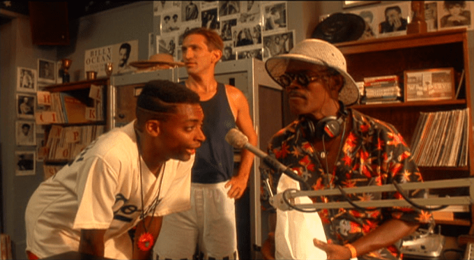 From Left To Right Mookie (Spike Lee), Vito (Richard Edson) and Mister Señor Love Daddy (Samuel L. Jackson) in DO THE RIGHT THING