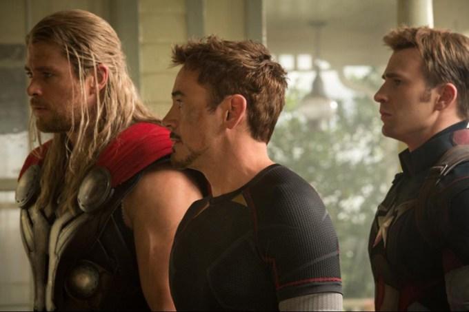 Chris Hemsworth, Robert Downey Jr., Chris Evans in AVENGERS AGE OF ULTRON. Photo courtesy of Marvel/ Disney.