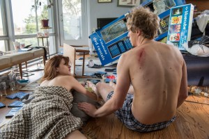 Aya Cash as Gretchen Cutler, and Chris Geere as Jimmy Shive-Overly in tonight's season two premiere episode. Photo courtesy of Prashant Gupta/FX.
