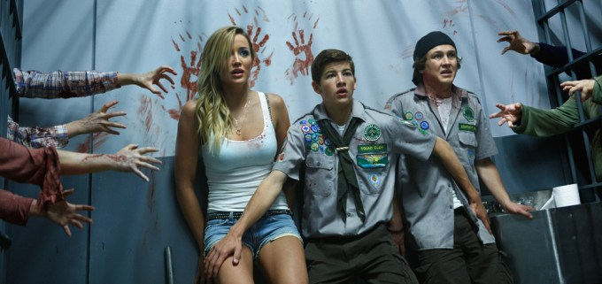 Left to right: Sarah Dumont plays Denise, Tye Sheridan plays Ben and Logan Miller plays Carter in SCOUTS GUIDE TO THE ZOMBIE APOCALYPSE from Paramount Pictures.