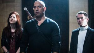L-R: Rose Leslie, Vin Diesel and Elijah Wood in THE LAST WITCH HUNTER. Photo courtesy of Summit Entertainment.
