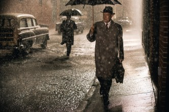 Tom Hanks and an unknown pursuer in BRIDGE OF SPIES (photo courtesy of Touchstone Pictures)