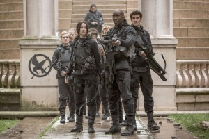 Peeta Mellark (Josh Hutcherson , far left), Katniss Everdeen (Jennifer Lawrence, center left), Boggs (Mahershala Ali, center right) and Gale Hawthorne (Liam Hemsworth, far right) in THE HUNGER GAMES: MOCKINGJAY - PART 2. Photo Credit: Murray Close