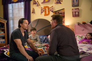 Left to right: Mark Wahlberg plays Dusty Mayron, Owen Vaccaro plays Dylan, Will Ferrell plays Brad Whitaker and Scarlett Estevez plays Megan in Daddy's Home from Paramount Pictures and Red Granite Pictures