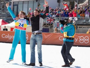 Taron Edgerton and Hugh Jackman star in EDDIE THE EAGLE. Courtesy of 20th Century Fox.