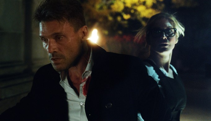 Frank Grillo & Elizabeth Mitchell try to escape THE PURGE: ELECTION YEAR. Courtesy of Universal Pictures.