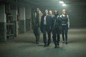 Edwin Hodge, Elizabeth Mitchell, Mykelti Williamson, Joseph Julian Soria, Betty Gabriel in THE PURGE: ELECTION YEAR. Courtesy Universal Pictures.
