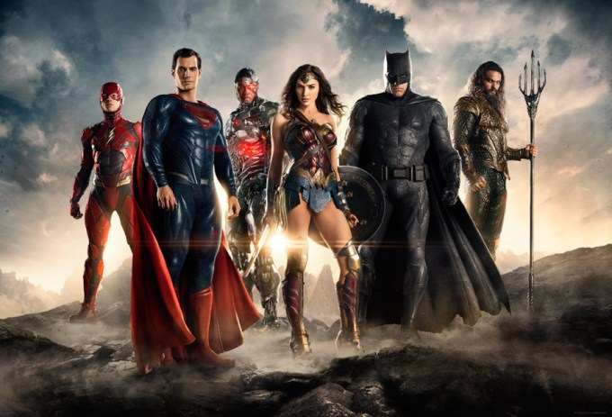 The Flash (Ezra Miller), Superman (Henry Cavill), Victor Strong/ Cyborg (Ray Fisher), Wonder Woman (Gal Gadot), Bruce Wayne/ Batman (Ben Affleck), and Arthur Curry/ Aquaman (Jason Momoa) are the JUSTICE LEAGUE. Courtesy of Warner Brothers/ DC.