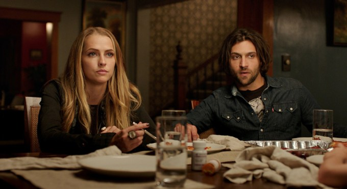 Teresa Palmer and Alexander DiPersia in LIGHTS OUT. Courtesy of Warner Brothers/ / New Line.