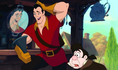 Gaston (Richard White) admiring himself next to Le Fou (Jesse Corti). Photo courtesy of Disney.