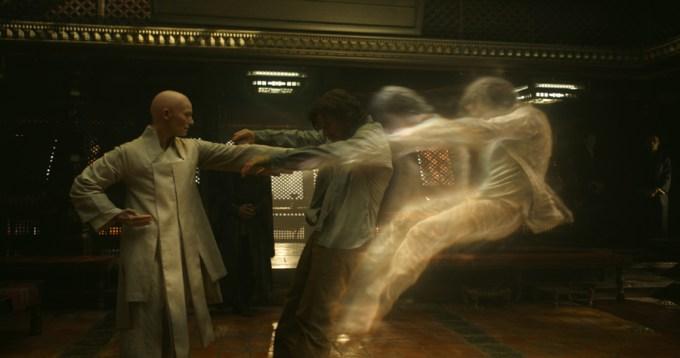 Tilda Swinton and Benedict Cumberbatch in DOCTOR STRANGE. Courtesy of Marvel Studios.