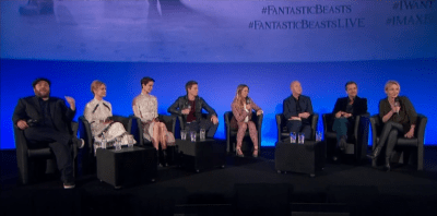 L-R: Dan Fogler, Alison Sudol, Katherine Waterston, Eddie Redmayne, host Edith Bowman, director David Yates, producer David Heyman and author J.K. Rowling at London's Cineworld Leicester Square IMAX.