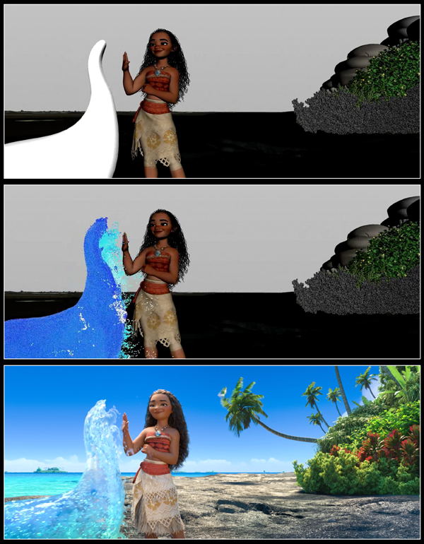 MOANA effects progression image, featuring Animation (top), Simulation (middle), and Render (bottom) passes. Courtesy of Walt Disney Pictures.