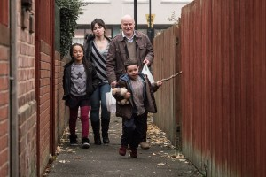 Dave Johns, Hayley Squires, Briana Shann, and Dylan McKiernan in I, DANIEL BLAKE. Courtesy of Sundance Selects.