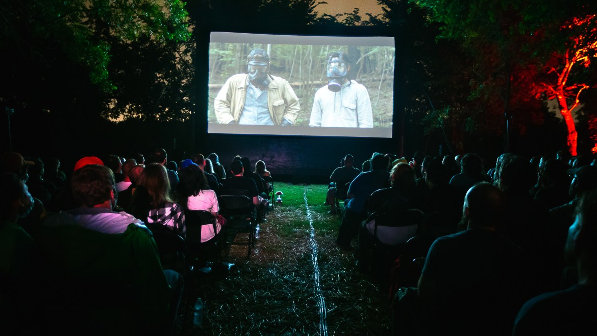 Horror film 'IT COMES AT NIGHT' screens in Texas woods
