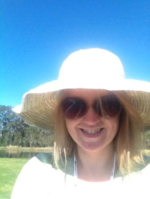 Me with my hat and sunscreen on, ready for olive education!