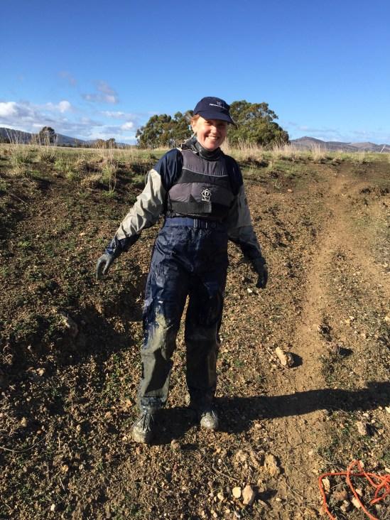 Olive grove dam mud