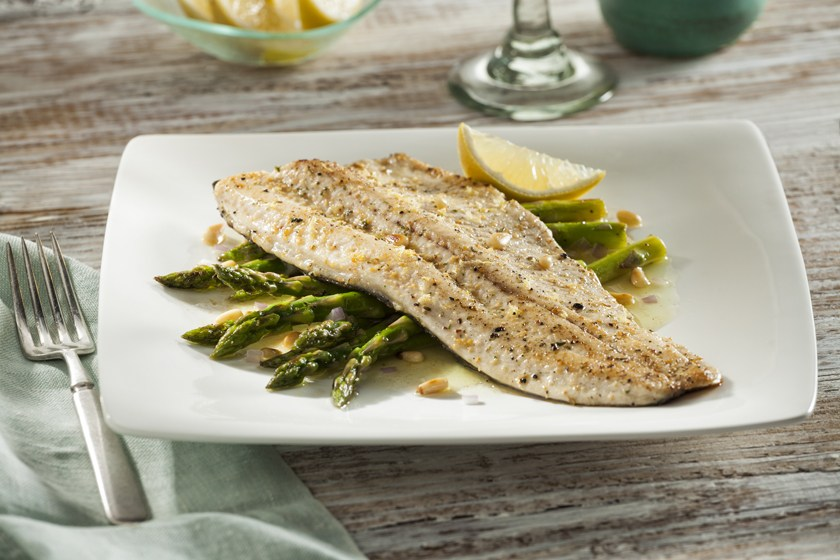 Pan Seared Rainbow Trout with Roasted Asparagus Wild Rice