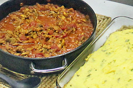 Baked Polenta with Tomato-Sausage Sauce - so yummy!