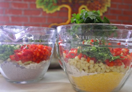 All dry ingredients in two bowls.  Mix in liquid ingredients just before baking.