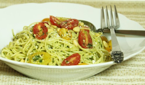 Angel Hair Pasta with Fresh Tomatoes and Pesto