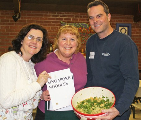 Natalie, Lisa and Jason show off their Singapore Noodle dish