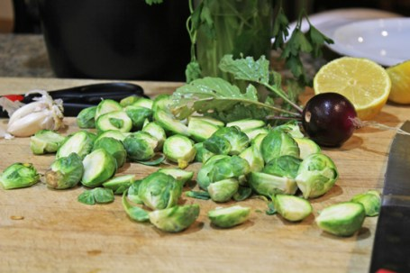 Brussels Sprouts ready for the skillet.