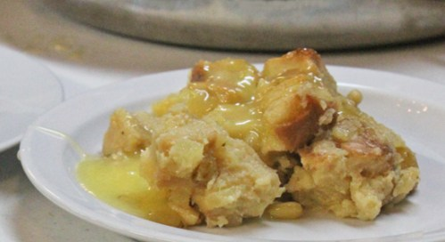 Bread Pudding with Pineapple and Raisins smothered in Tequila Sauce