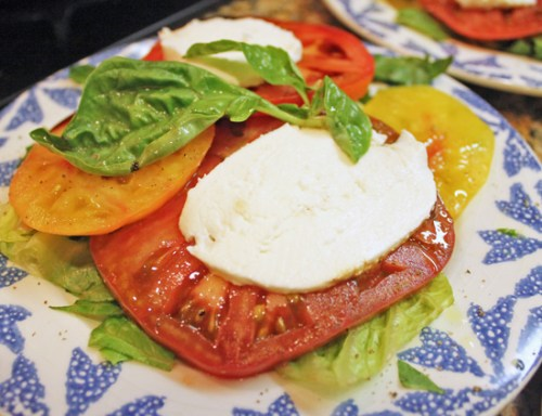 Caprese Salad loves olive oil, balsamic vinegar, salt and pepper.