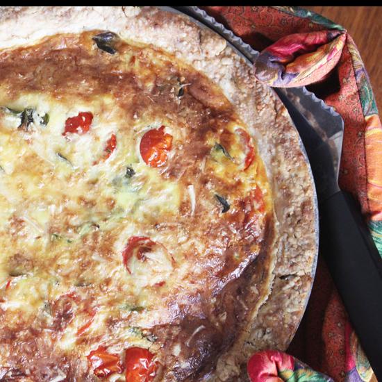 Hatch Chile and Juliet Tomato Quiche