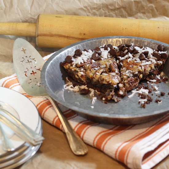 Chocolate Coconut Pecan Pie ready to serve