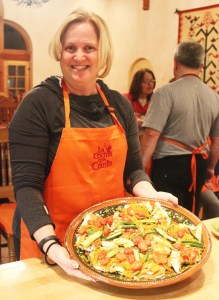 Dee with Fish for 12 at our La Cocina que Canta class at the Rancho La Puerta Spa.